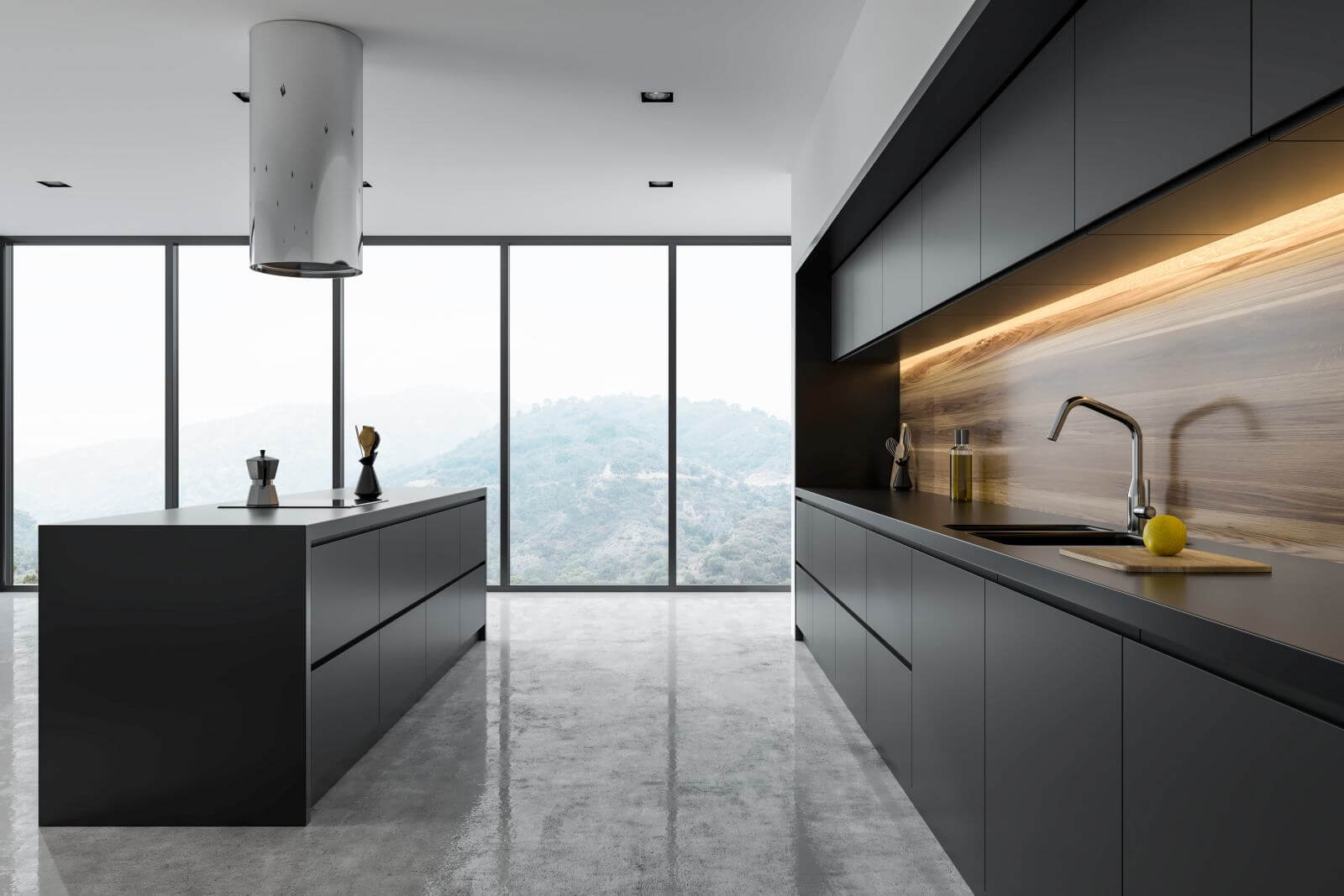 Side view of a panoramic black and wooden kitchen interior with dark gray countertops and an island. 3d rendering mock up