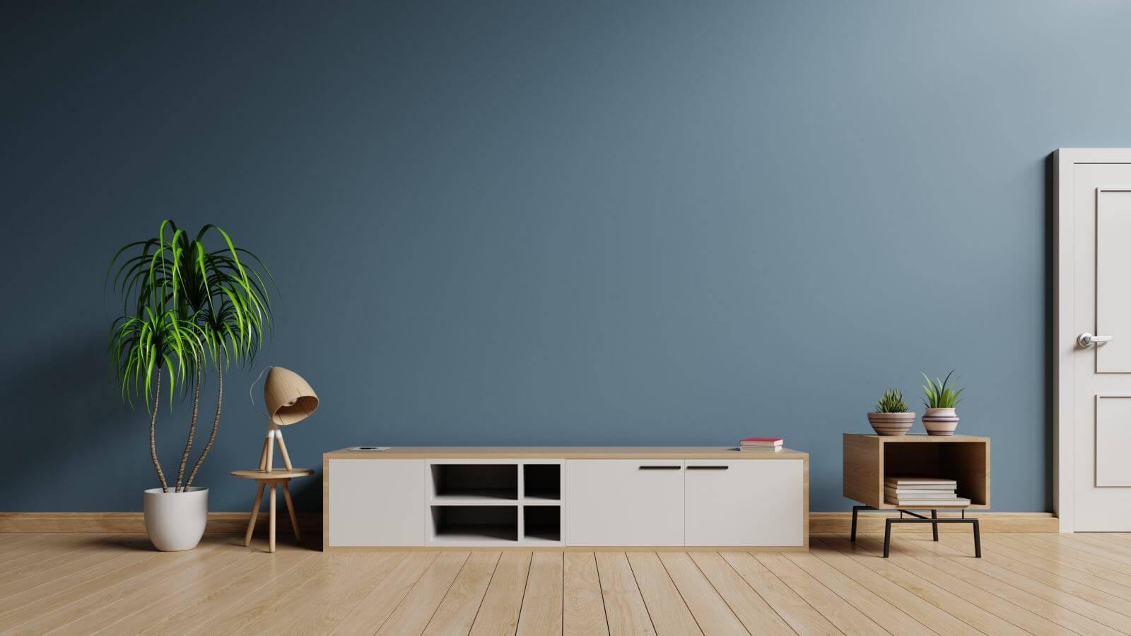 Tv cabinet in modern empty room on wooden floor and wall dark background, 3d rendering