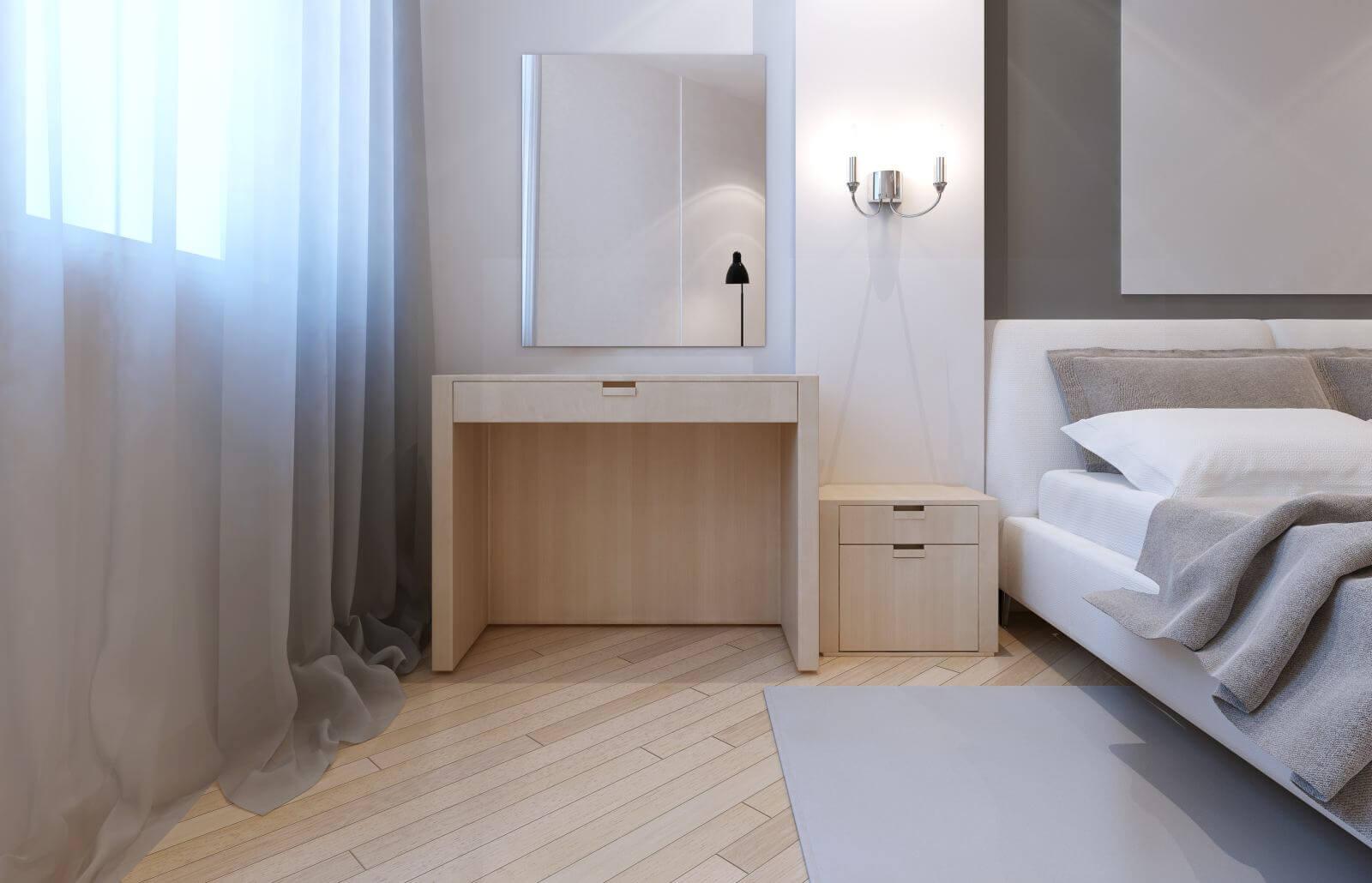 Idea of avant-garde bedroom. 3D render