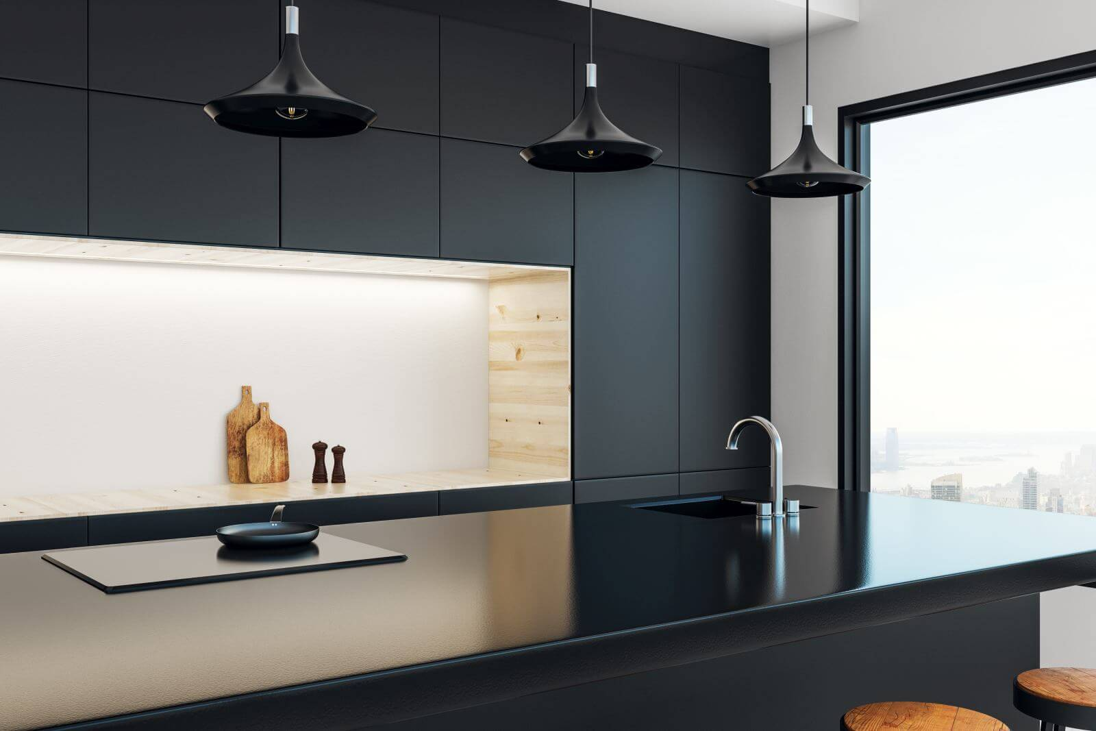 Minimalistic kitchen studio interior with panoramic New York city view and daylight. 3D Rendering
