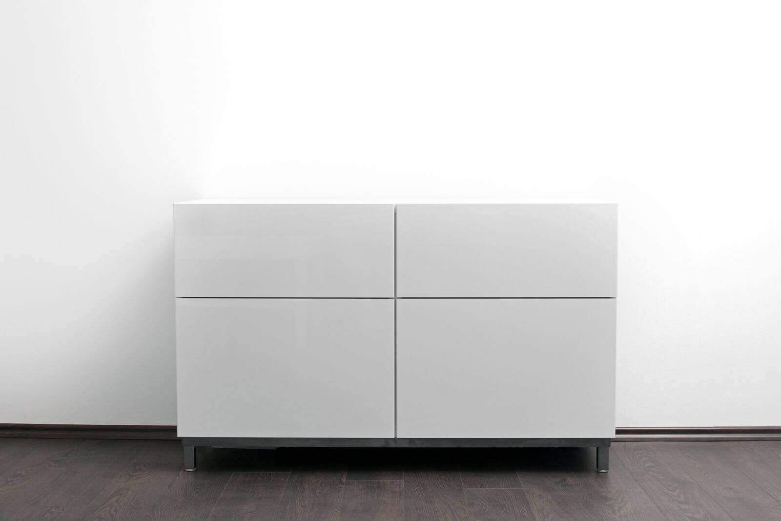 white chest of drawers in bright minimalism interior
