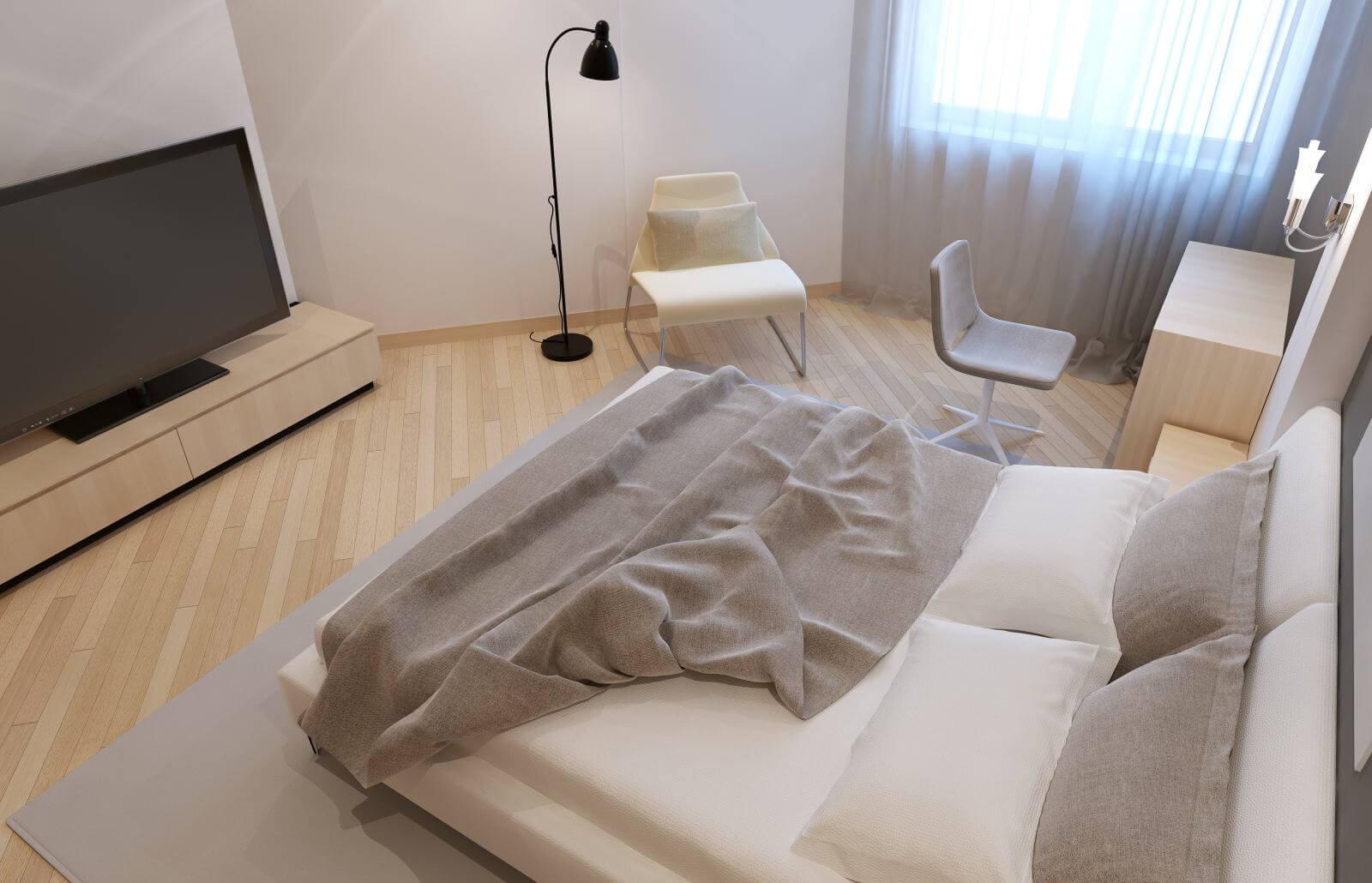 Unmade bed in avangard bedroom with white walls. 3D render