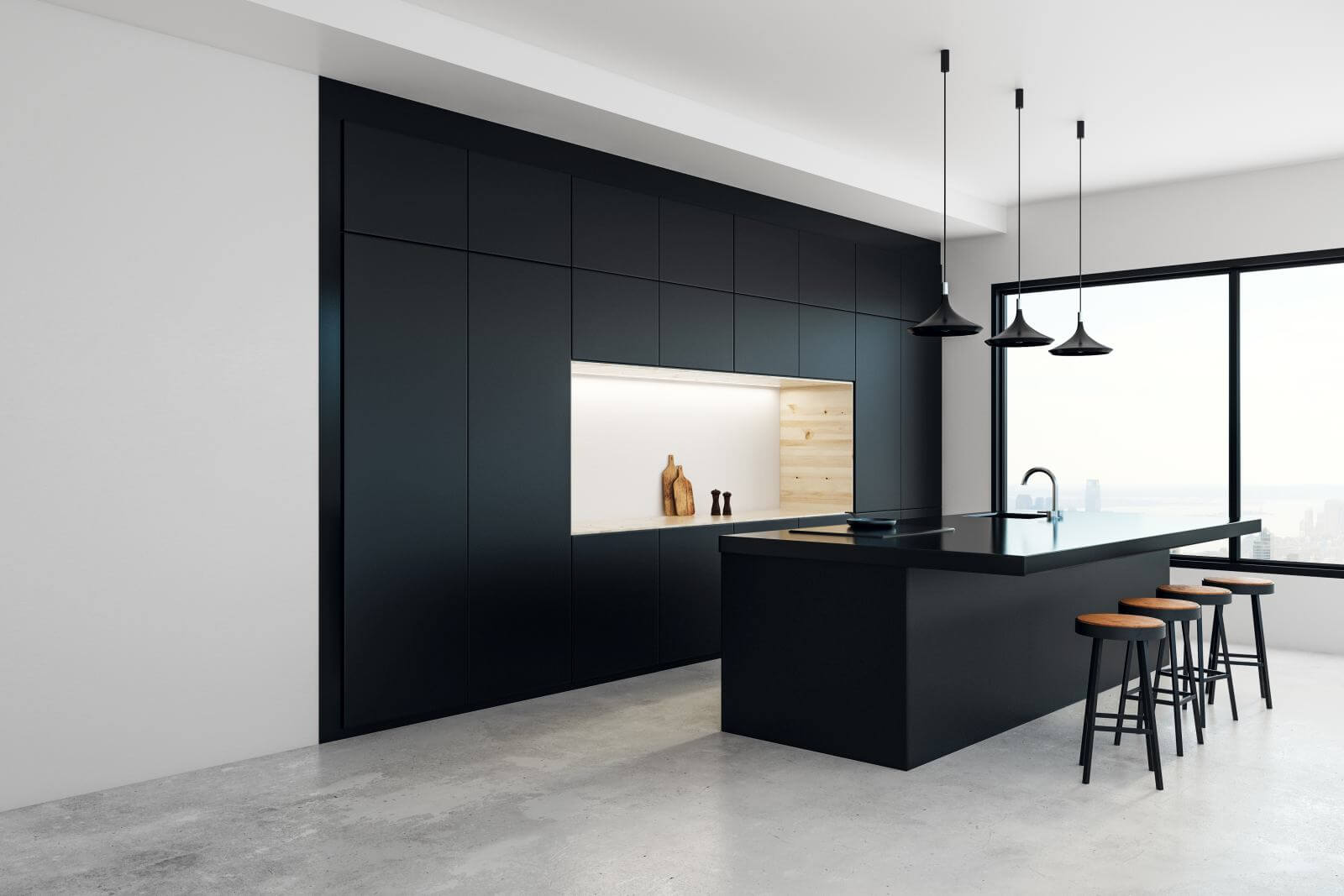 Modern kitchen studio interior with panoramic New York city view and daylight. 3D Rendering