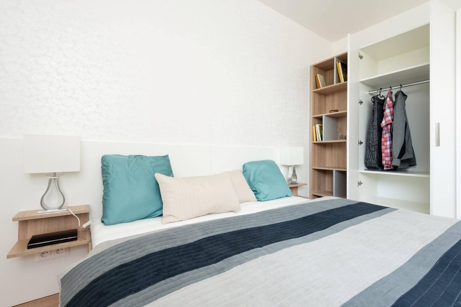 Contemporary bedroom interior of house