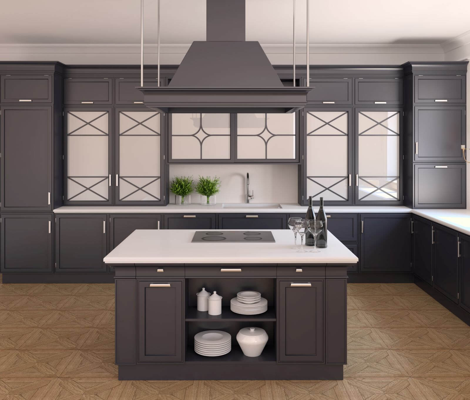 Interior of classic black kitchen. 3d render.