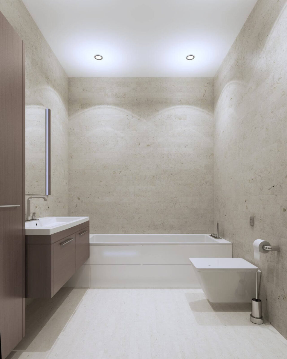 Bathroom contemporary style with textured plaster wall and ceiling lights, furniture of medium taupe color. 3D render