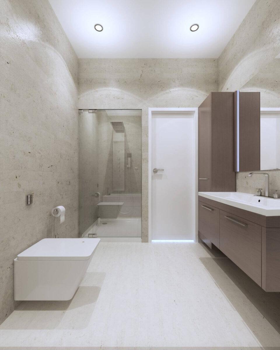 Light contemporary bathroom interior with glass door shower in luxury apartments. 3D render