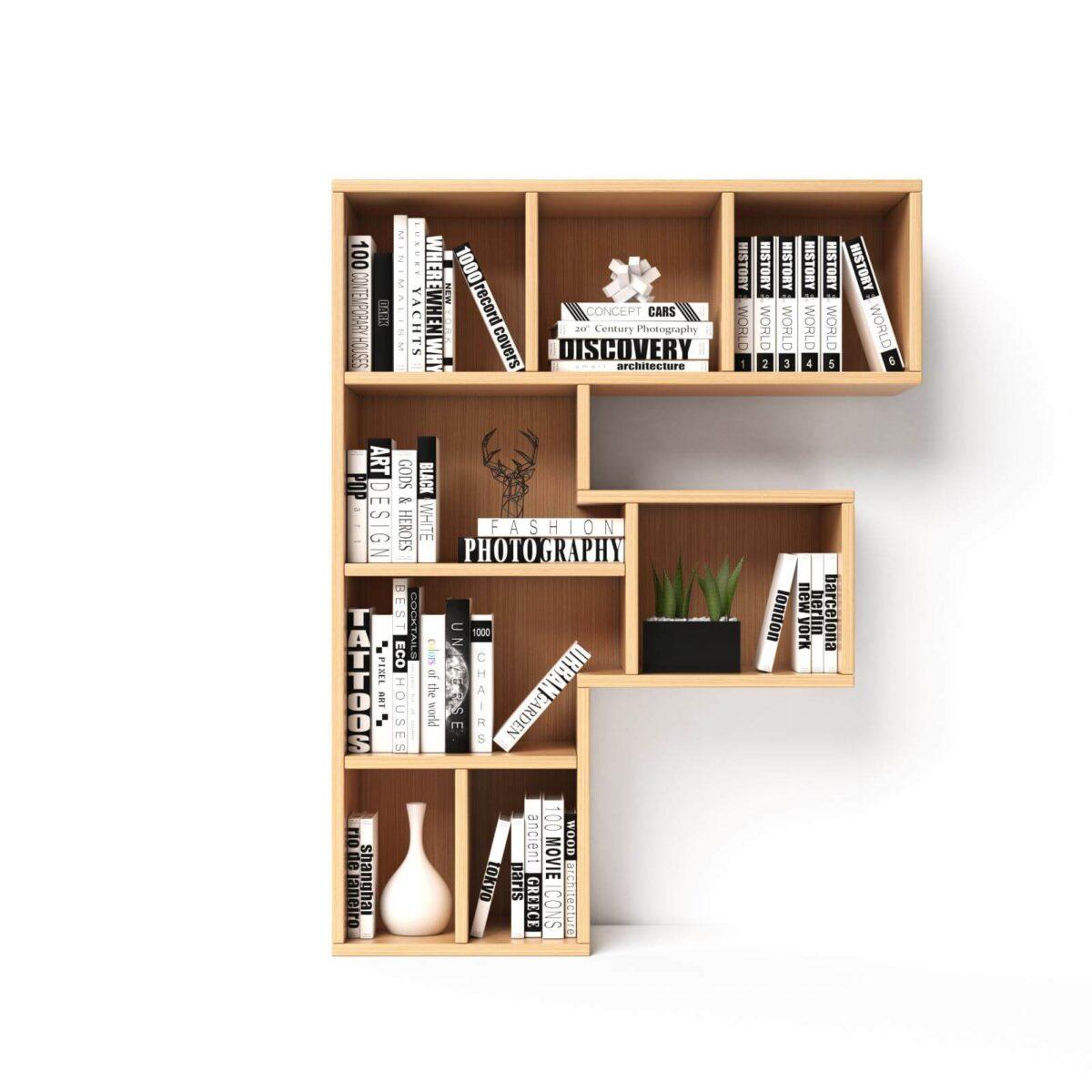 Bookshelves 3d font. Alphabet in the form of book shelves. Mockup font.  Letter F 3d rendering