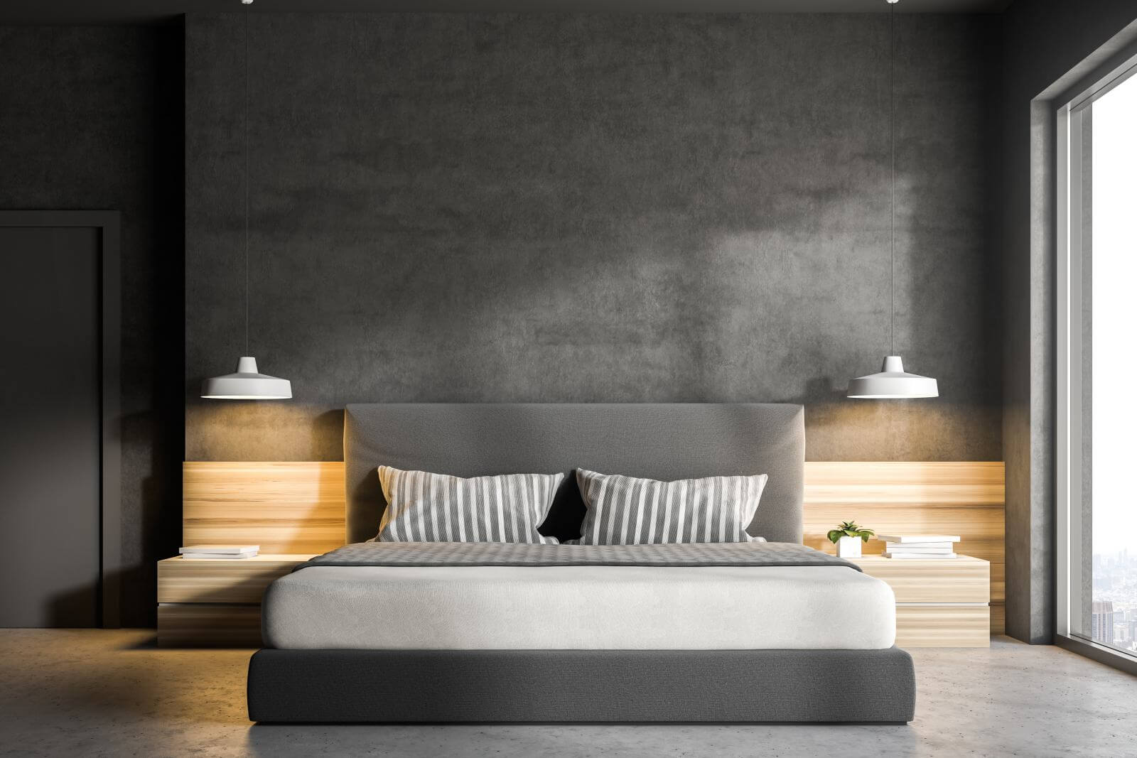 Interior of a modern bedroom with gray walls, a concrete floor, a double bed and two bedside tables. 3d rendering mock up