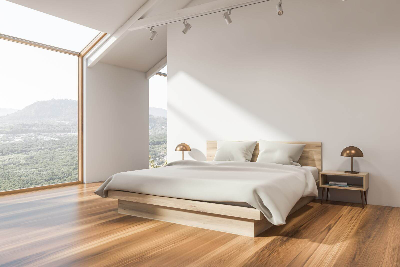 Corner of attic bedroom with white walls, wooden floor, master bed with white blanket and window with mountain view. 3d rendering