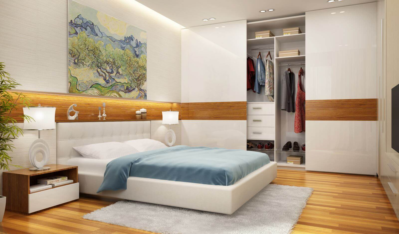 Beautiful bedroom and modern wardrobe