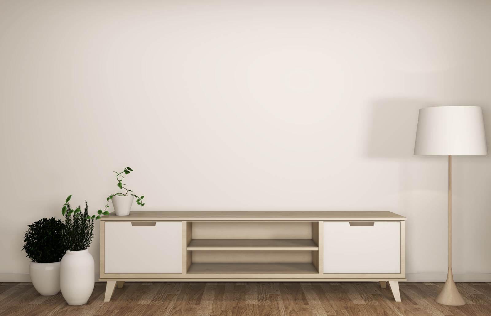 cabinet in modern empty room Japanese - zen style,minimal designs. 3D rendering