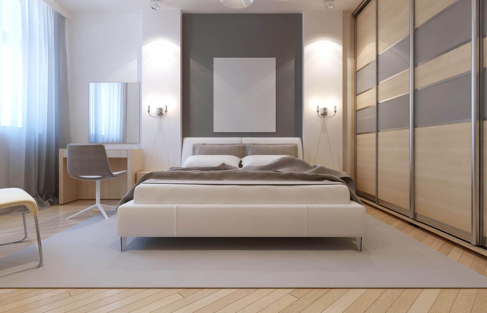 Master bedroom avangard design. Soft double bed, dressing table, closet with sliding doors. 3D render