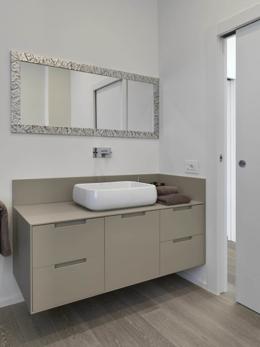 foreground the  sink cabinet with counter top washbasin in the modern bathroom