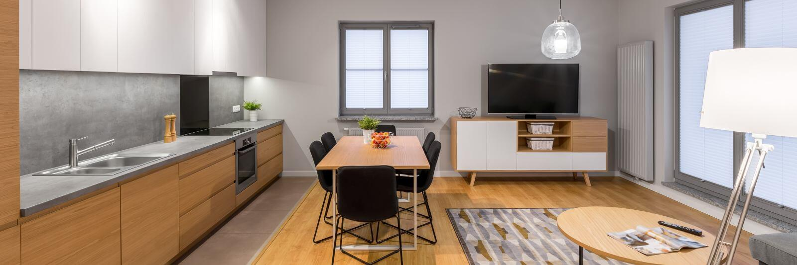Multifunctional loft apartment with kitchen, dining area and tv living room, panorama