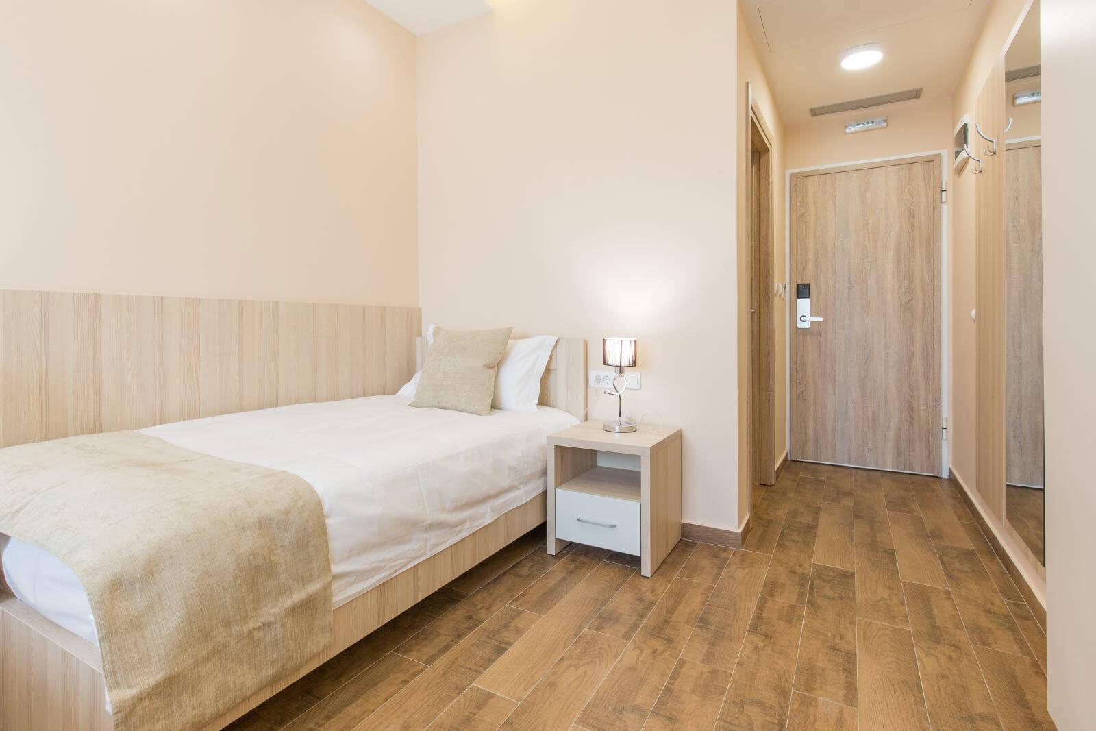 Hotel room interior, bedroom